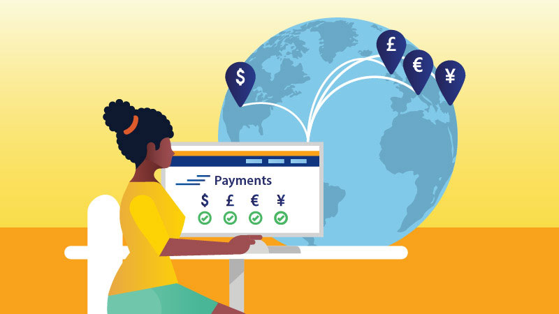 An illustration that conveys the idea that Visa Direct can send payments across the globe.
