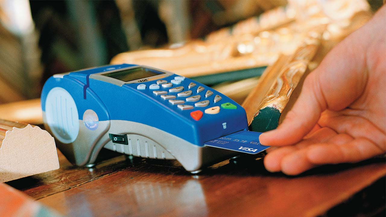Chip card is used in-store at a chip-activated terminal.