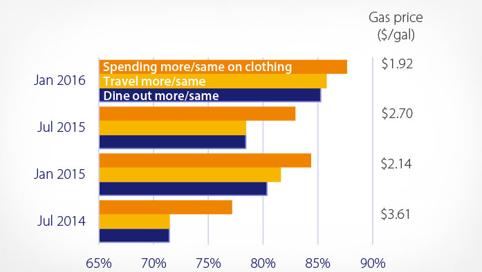 Graph showing gas, clothing, travel and dining spending trends from July 2014 to January 2016.